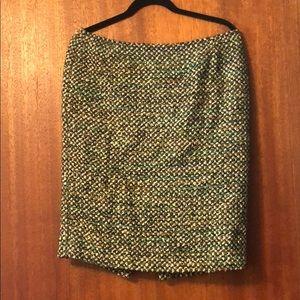 Lafayette 148 green tweed silver threaded skirt